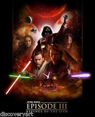 star wars episode 3 revenge of the sith movie poster canvas wall art film print | ebay
