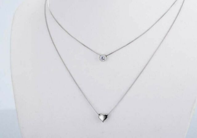 Women/'s Stainless Steel Double Layer Heart and Cubic Zirconia Necklace
