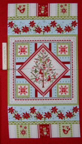 "O Christmas Tree Fabric Panel Studio E 24/"" Cotton Poinsettia Red Green"