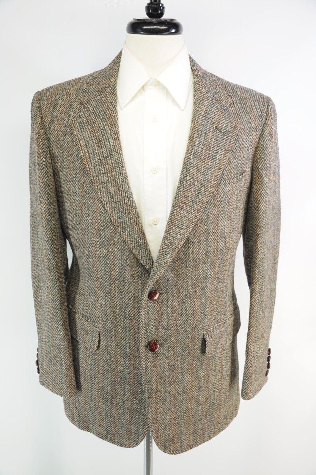 Vintage Harris Tweed Leder Buttons Herringbone Scottish Wool 2 Btn Blazer 39R