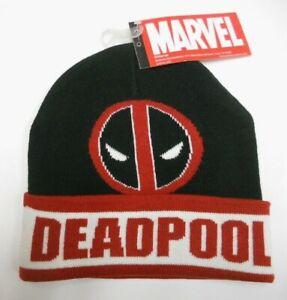 b875098c62e0a NWT MARVEL Comics DEADPOOL Black   Red knit BEANIE HAT one size