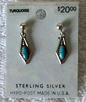 Fashion Jewelry Turquoise Sterling Silver Earrings Pierced Usa