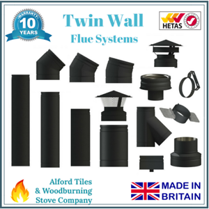 Black Twin Wall Insulated Flue Stove Pipe 6 Inch