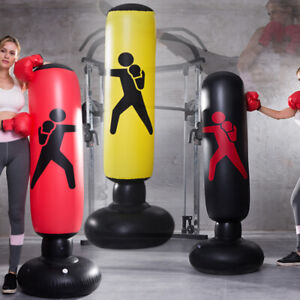 1.6M Free Standing Inflatable Boxing Punch Bag Pads Kick Training For Adults Kid