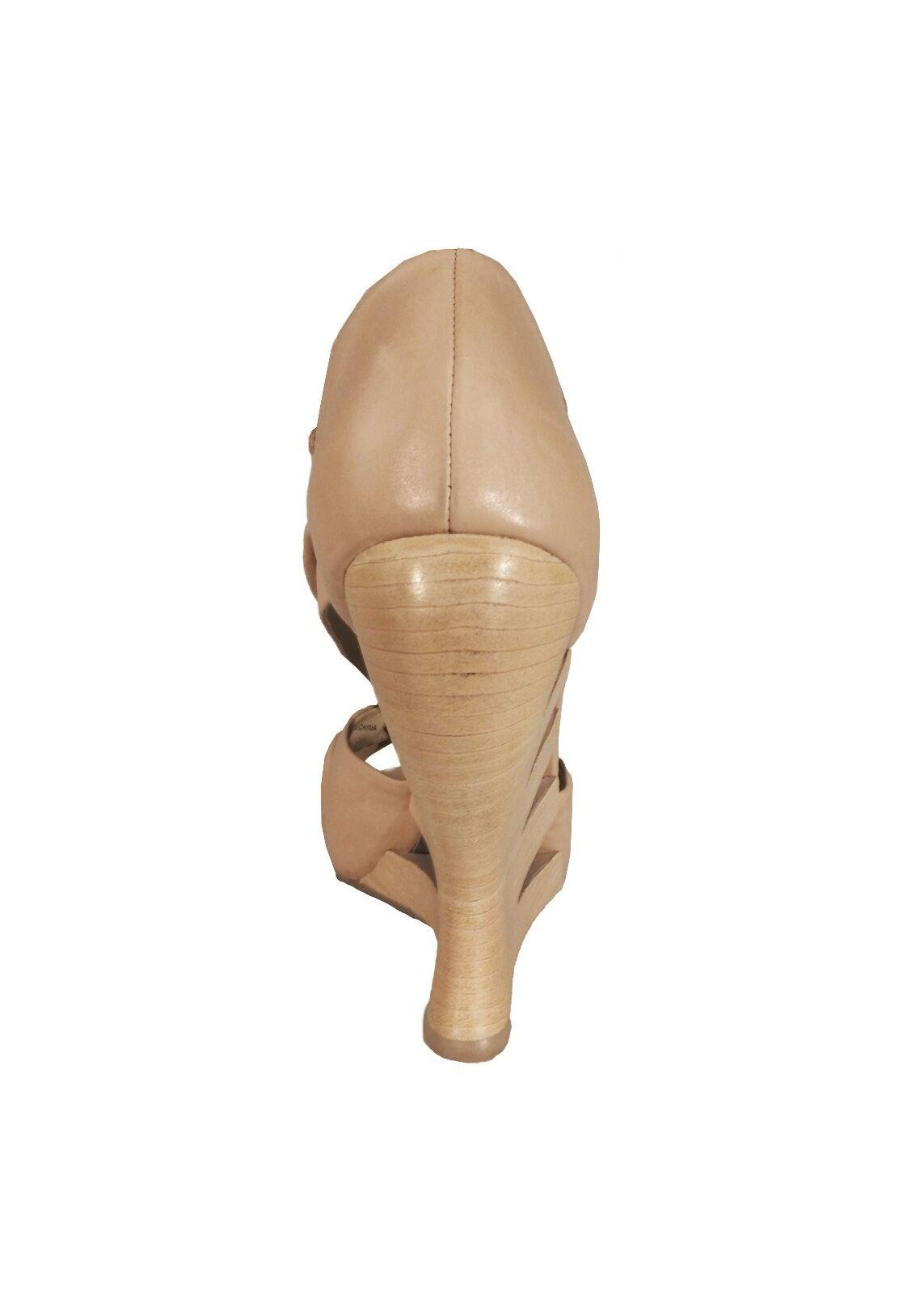 Donald J Pliner Nude Leder Knot Detail Open Toe Wedge Heels Größe 7