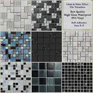 Image Is Loading Black Grey Mosaic Tile Stickers Transfers Kitchen Bathroom