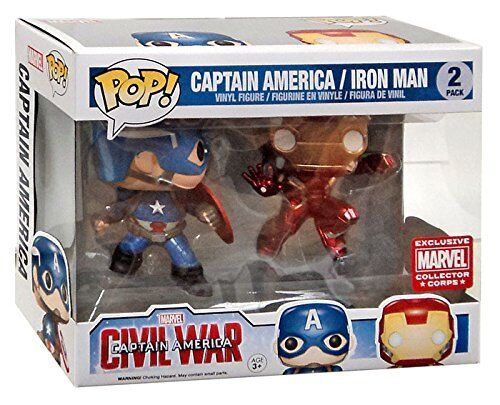 MARVEL COLLECTOR CORPS CAPTAIN CAPTAIN CAPTAIN AMERICA & IRON MAN 3.75  POP VINYL FIGURE FUNKO 3d74df
