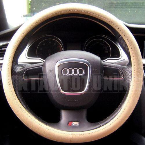 Leather Steering Wheel Cover in Black Beige Grey Kia Sportage Soul Sorento Ceed