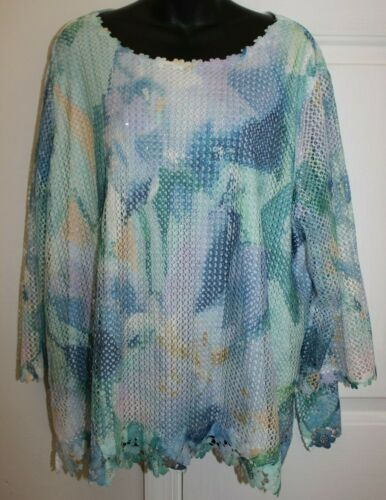 Alfred Dunner Woman 3x Pastel Crochet Overlay 3/4