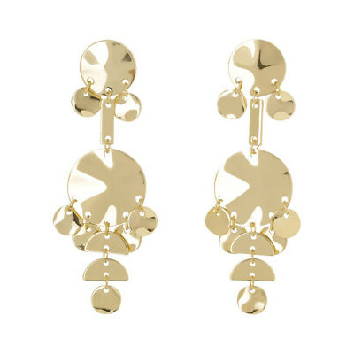NEW Piper Geo Statement Disc Earring Gold
