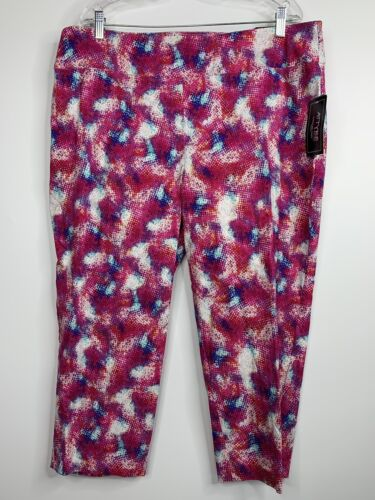 Attyre 18W Capri Crop Pants Pink Blue Pull One Active Wear Yoga Workout NEW D