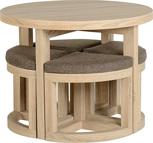 Round Dining Set Table 4 Stools Seat Small Space Kitchen Eat Room