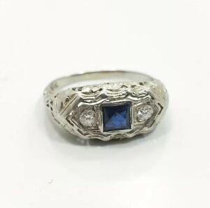 Vintage-Art-Deco-18k-White-Gold-Diamond-Sapphire-Ladies-Filigree-Ring-Sz-7-5