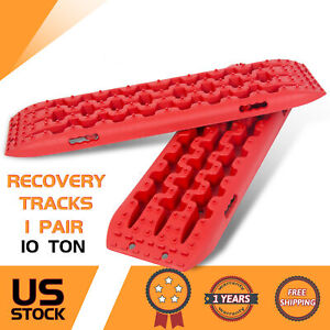 Red Pair Recovery Traction Sand Tracks Snow Mud Track Tire Ladder 4WD Off Road