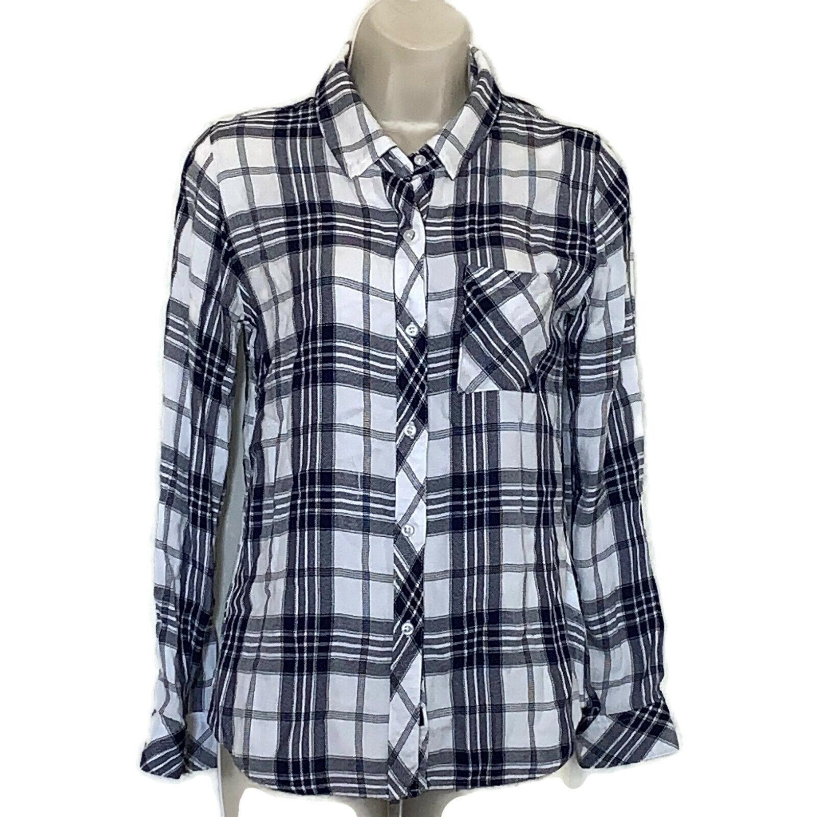 Rails Navy And White Super Soft Plaid Hunter Button Up Shirt Size XS