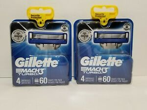 Gillette-Mach3-Turbo-Razor-Cartridges-4-Per-Pack-2-Packs-New-amp-Sealed