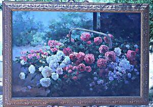 Listed Artist Max Gestel Large Oil On Canvas, Floral, Framed