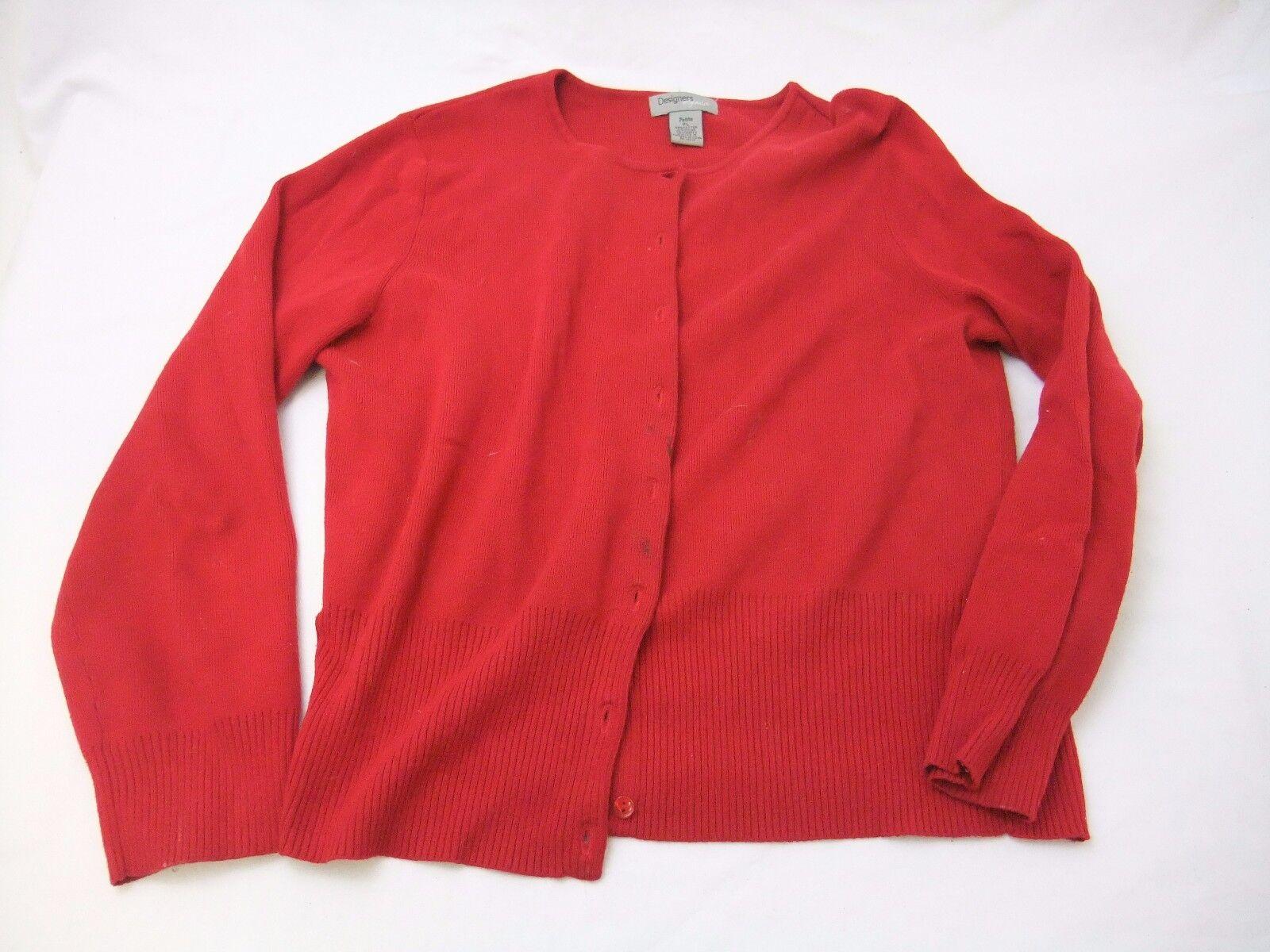Vintage Designers Originals Women's Red Cardigan Sweater Size PL