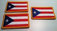 3 Puerto Rico Flag Patch With Velcro® Brand Fastener Military Gold Border 4
