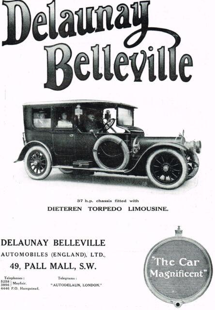 1912 Old Vintage Original DELAUNAY BELLEVILLE Limousine Automobile CAR Print AD
