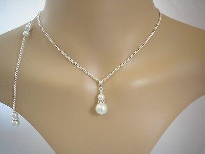 c138d847ae26c Pearl & Diamante Backdrop Necklace Back Chain Drop Bridal Bridesmaid  Wedding 4LW | eBay