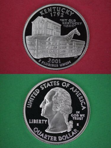 Silver 2001 S Kentucky Proof State Quarter Deep Cameo Combined Shipping