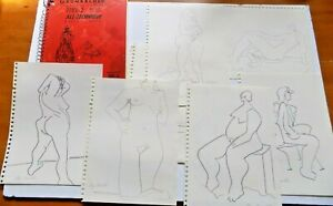 Mid-Century Abstract Drawings Nude Woman Chicago Artist Faye Franklin sketchbook