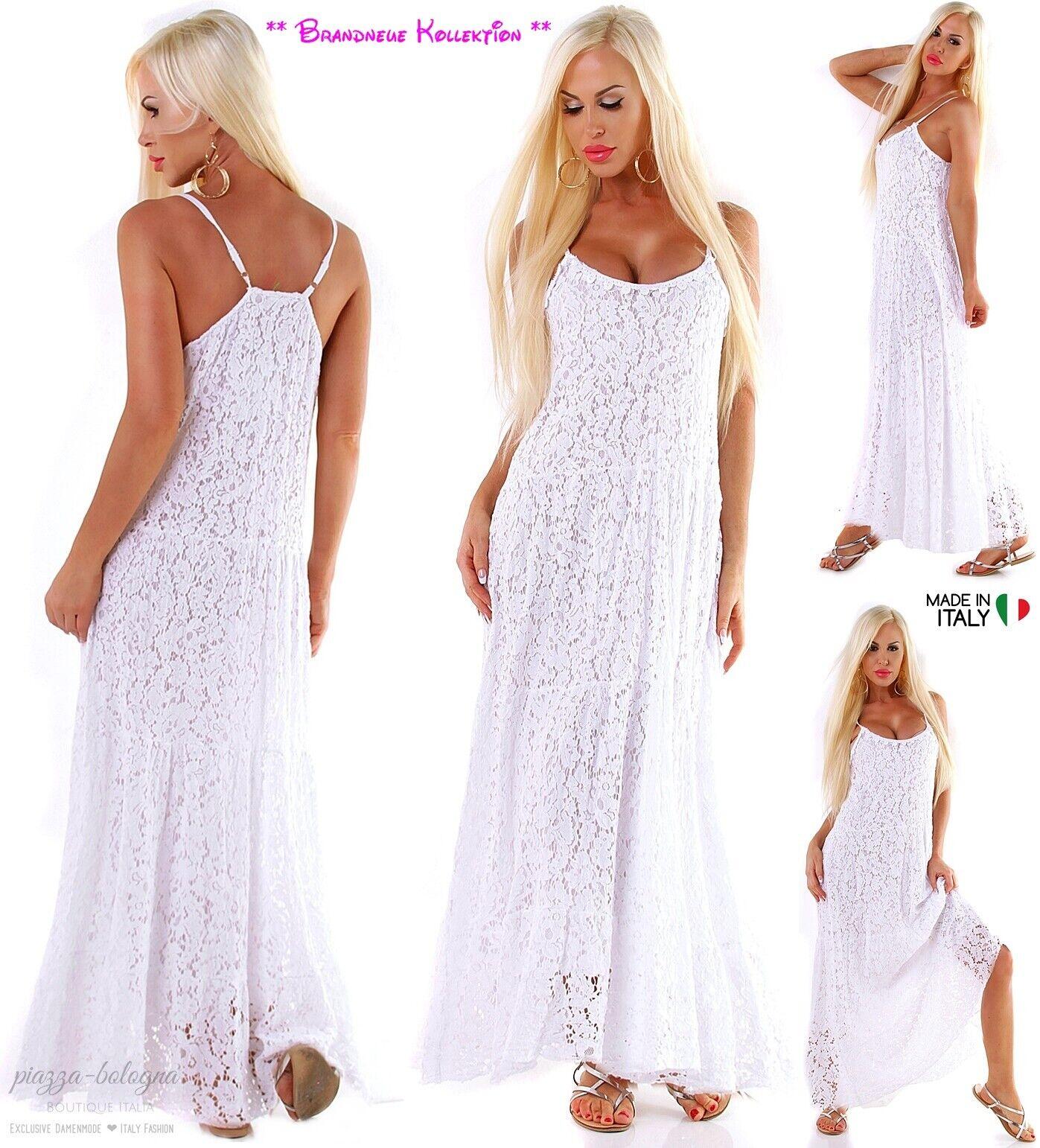 NEU 38 40 Maxikleid 2-lagig komplett aus BlauMänner-Spitze Kleid lang Weiß  M-L