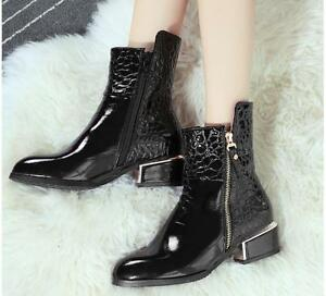 chic womens ankle boots side zipper patent leather block