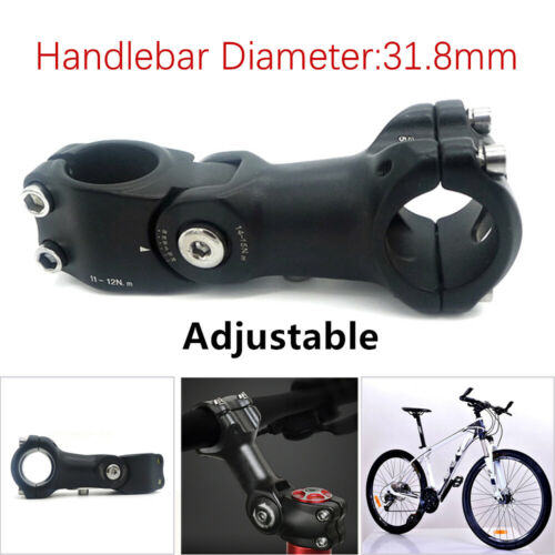 1*31.8//110mm Mountain Road Bicycle Adjustable Rise Handlebar Stem Aluminum Black
