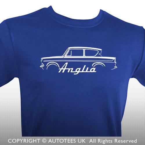 AUTOTEES T-SHIRT FOR RETRO FORD ANGLIA CLASSIC CAR ENTHUSIASTS