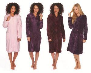Ladies Zip Button Front Cosy Fleece Collar Dressing Gown Housecoat