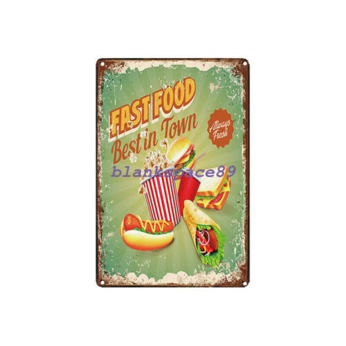Metal Tin Sign fast food best in town Decor Bar Pub Home Vintage Retro Poster