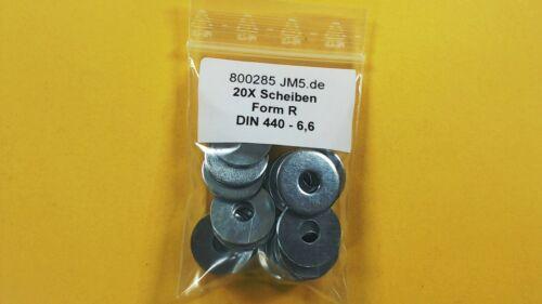 20X Unterleg Scheiben DIN 440 für Holzkonstruktion M6 Form R verzinkt ISO 7094