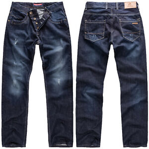 Rock-Creek-Jeans-Uomo-Pantaloni-Regular-Fit-Blu-Scuro-Denim-Used-Look-rc-2066
