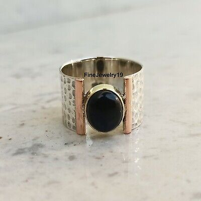 Long Rectangular Bar Black Onyx Handmade Statement Ring 925 Sterling Silver Jewelry