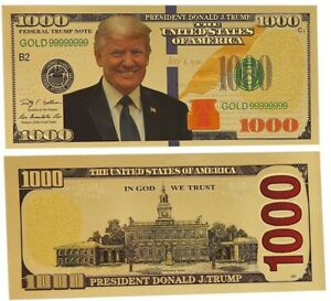 GOLD-Foil-US-DONALD-TRUMP-1000-Dollar-Bill-Republican-Collection-Novelty-Note