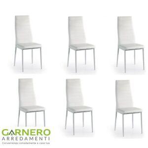 Set 6 pz sedia in ecopelle bianca DAFNE di Behome, struttura in ...
