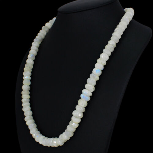 462.05 cts naturel unique STARND White Moonstone Faceted Forme Perles Collier