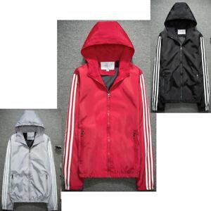 Ladies 3 Stripes Windbrake Sports Jacket Waterproof Bomber Coat Outwear Parka UK