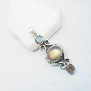 Labradorit-blau-gruen-Nostalgie-Design-Amulett-Anhaenger-925-Sterling-Silber-neu