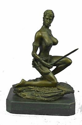 "Bronze Sculpture of Busty Fantasy Female Warrior 9/"" x 6/"""