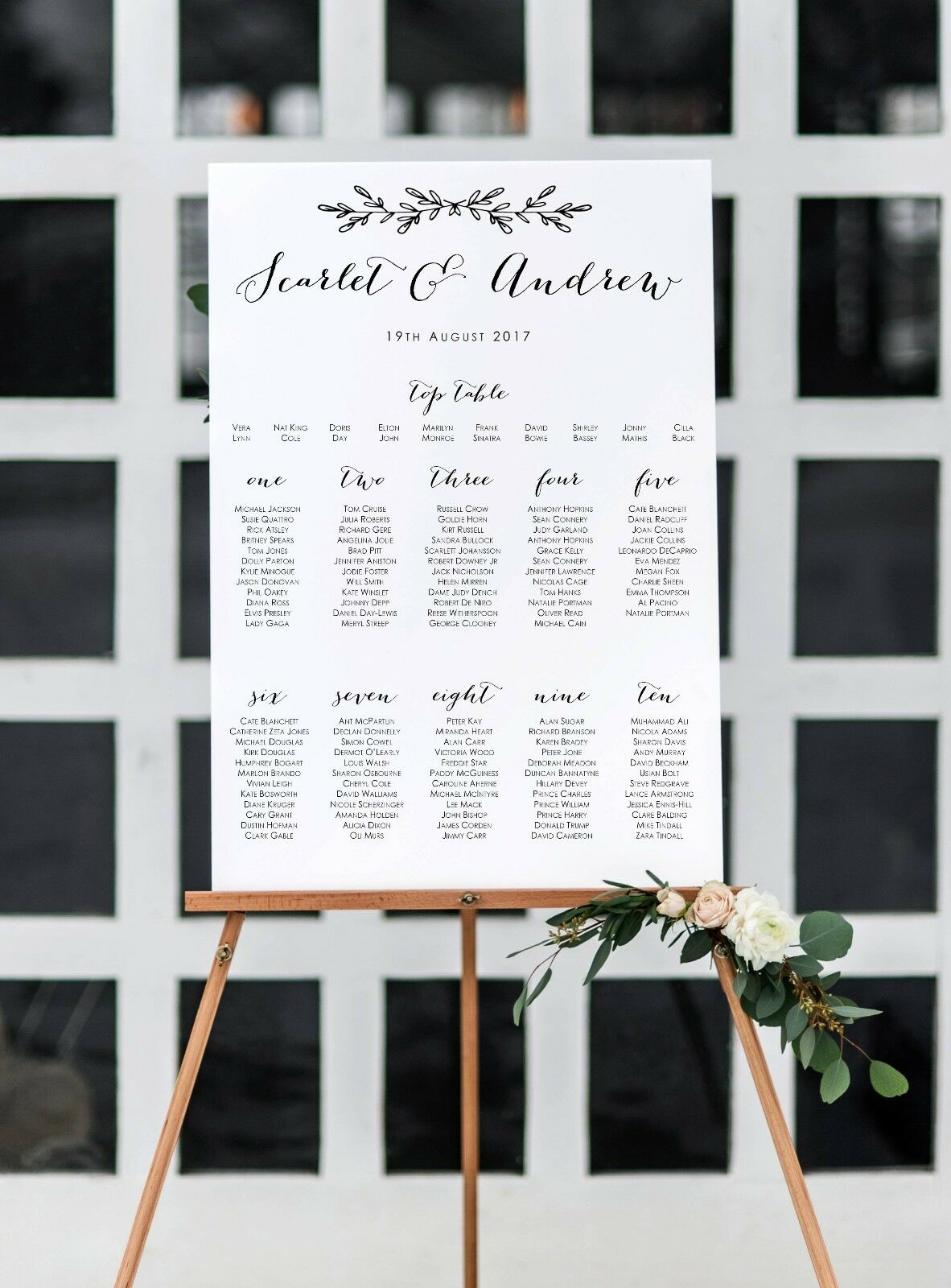 Personalised 'Scarlet' Wedding Table Seating Plan A1 A2 A3