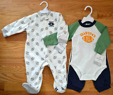 NWT Set of Carter's Boys Football Outfit & Zip-Up Fleece Pajamas, 9 Months