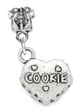 Cookie Heart Dessert Sweets Christmas Dangle Charm for European Bead Bracelets