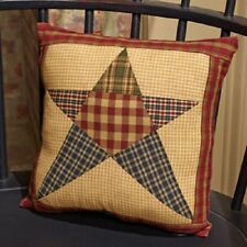 "Primitive Country Rustic 10"" Rebbecca's Star Patchwork Farmhouse Throw Pillow"