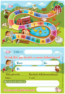 Das Bild Wird Geladen 12 Einladungskarten Einladungen Kindergeburtstag  Bauernhof Abenteuer Outdoor