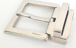 Ferragamo-Belt-Buckle-Silver-Tone-Brass-Rectangular