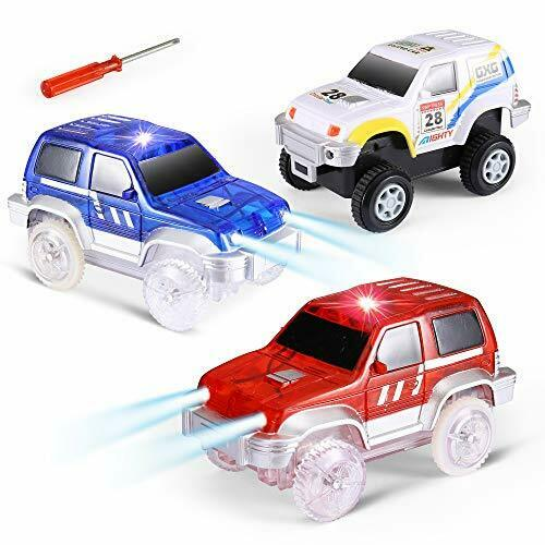 3-Pack ,Compatible with Magic Tracks Glow in Track Cars Light Up Toy Car Track