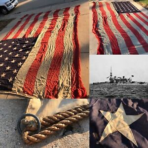 VERY-RARE-Antique-1890s-Oversized-12-039-x18-039-Spanish-American-War-Naval-Flag-Relic